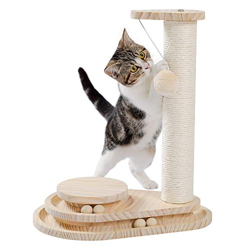 Made4Pets Wooden Cat Scratching Post Cat Scratcher Toy Two-Layer Cat Turntable with Interactive Balls and Dangling Ball
