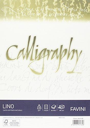 Favini A69Q514 Carta Calligraphy, Effetto Lino, 1 Confezione da 50 fogli