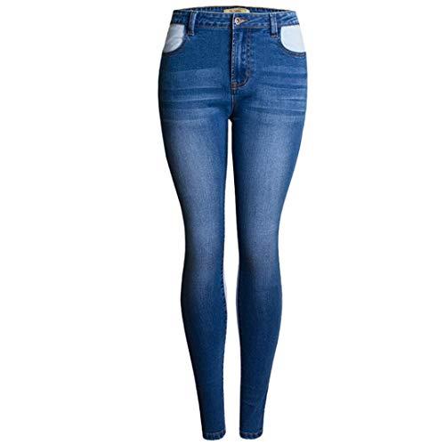 JCNHXD Patchwork Jeans Mujer Pantalones Pitillo de Mezclilla elásticos Pantalones para Mujeres...
