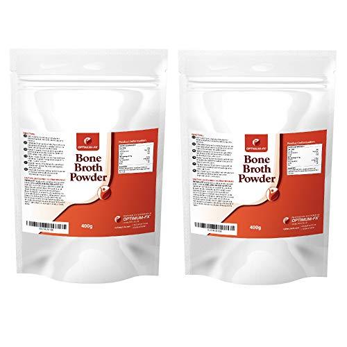 Reines Rinderknochen Brühepulver – Grasgefütterte Natürliche Rinderkollagen-Peptide – Hydrolysiertes Spitzen-Rinderprotein Ultrafeines Pulver – Nahrungsergänzungsmittel - 400 Gramm