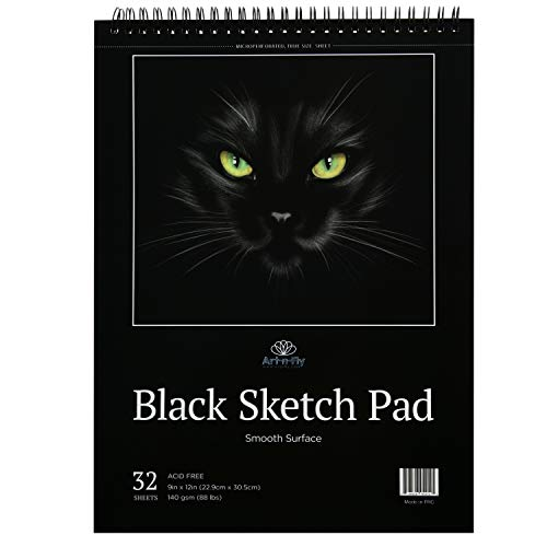 Black Sketch Pad 9X12 : Book of Crisp Black Perforated Paper on Spiral - 32 Sheets Sketchpad
