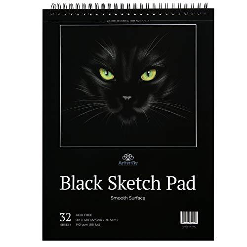 Schwarzes Skizzenbuch A4 : Buch mit schwarzem perforiertem Papier auf einer Spirale - 32 Blatt Skizzenbuch