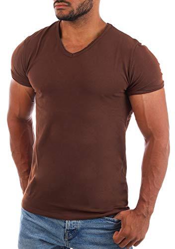 CARISMA Herren Uni Basic T-Shirt mit tiefem V-Ausschnitt Vintage Look Kragen Effekt einfarbig körperbetonte Dehnbare Passform, Grösse:L, Farbe:Braun