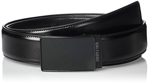 Kenneth Cole REACTION Men's Perfect Fit Adjustable Click Belt with Plaque Buckle,black,Large