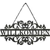 SEEM Gartendeko Willkommen Schild- 35 cm x 17 cm Metall schilder mit sprüchen- Elegantes Design haustür deko- gartendeko Metall- deko hauseingang- willkommensschild haustür für drinnen und draußen