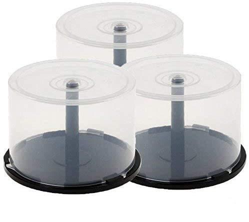 3x 50Caja de plástico de almacenamiento de CD y DVD, tubo para discos o BluRay con eje (capacidad para 150discos)
