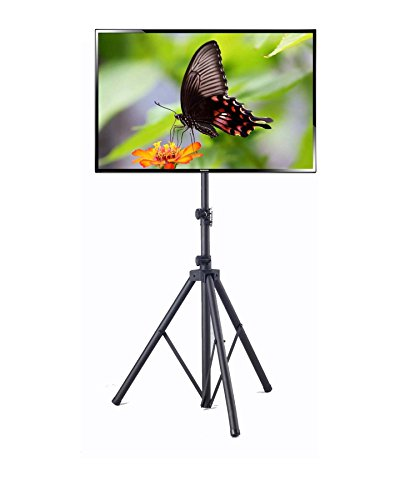 Elitech Steel Portable Plasma or LCD TV Stand with Tripod Legs for up to 55' Flat Panel TV, Height Adjustable. Max Stand Height 78.7'