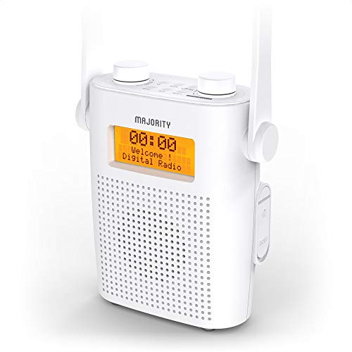MAJORITY Eversden DAB Water Resistant Portable Shower Radio | Bluetooth | Mains Powered & Rechargeable Battery