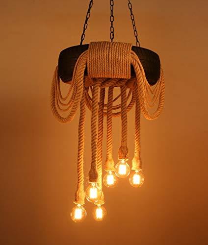 Vintage Industrial Hemp Rope Kronleuchter, Kreative Reifen 6 Licht Pendelleuchte Leuchte, Restaurant Bar Cafe Schmiedeeisen Deckenhängelampe, E26 / E27