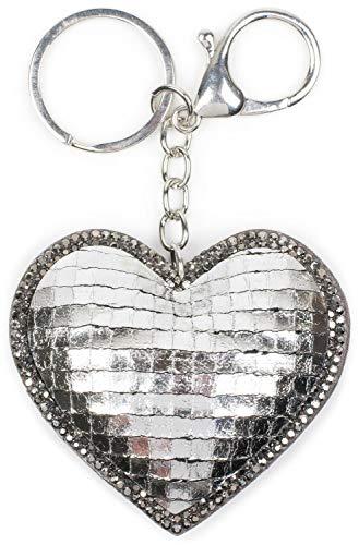 styleBREAKER Damen Herz Schlüsselanhänger mit Strass, Metallic, Karabiner, Befestigungsring 05050071, Farbe:Silber