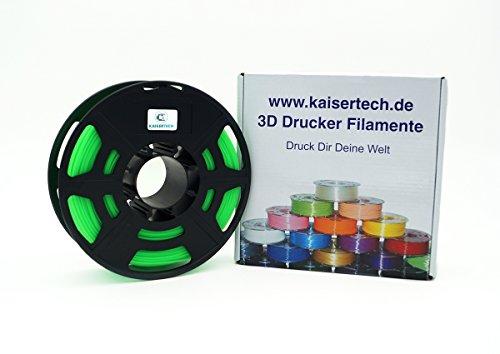 Kaisertech Filament für 3D Drucker 1kg PLA/ABS 1.75mm / 3mm - Premium Qualität & verschiedene Farben für MakerBot RepRap MakerGear Ultimaker uvm. (PLA 1.75mm, Glow in dark Grün)