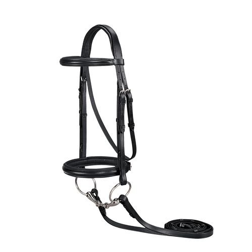 Dover Saddlery Suffolk Single Crown Classic Dressage Bridle- Black, Horse Size