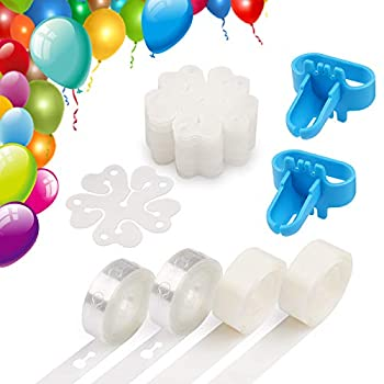 Coogam Balloon Decorating Strip Kit for Arch Garland 32Ft Balloon Tape Strip 2 Pcs Tying Tool 200 Dot Glue 20 Ballon Flower Clip for Party Wedding Birthday Xmas Baby Shower DIY  Upgraded Version