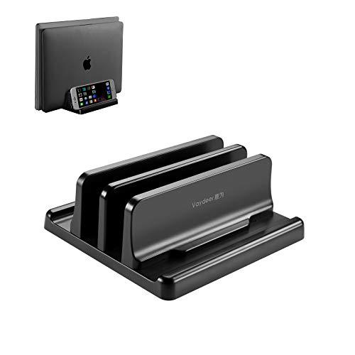 Vaydeer Vertikaler Laptop Ständer, Verstellbarer Laptop Ständer Vertikal, 4 in 1 Laptopständer mit 2 Steckplatz Platzsparend für MacBook, Notebook, iPad, Laptops bis zu 17,3 Zoll - Schwarz