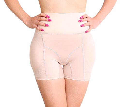 Sodacoda Damen Figurformende Bauch-Weg Effekt Mieder Hose - inkl entnehmbare Dicke warme Push-Up Polster für Knack-Po und runde Hüften (Beige L)