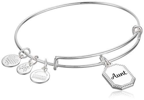 Alex and Ani Because I Love You Aunt IV EWB, SAS, Shiny Antique Silver, Expandable (A20BILY07SAS)