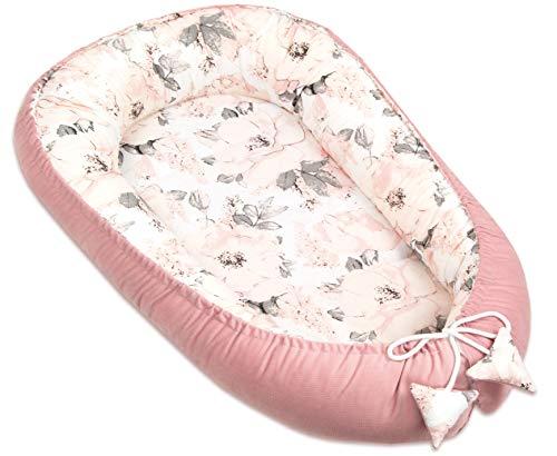 PIMKO Multifunktionale 2seitig Baby nest Kuschelnest Kokon für Babys Nestchen antiallergischre Neugeborene Kokon Reisebett 55 x 90cm Baumwolle und VELVET (Blume und rose)