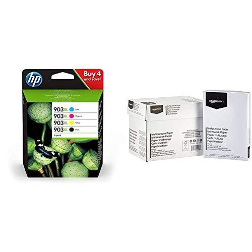 HP 903XL pack de 4 cartouches d'encre noire/cyan/magenta/jaune haute capacité authentiques (3HZ51AE) & AmazonBasics Papier multiusage A4 80gsm, 5x500 feuilles, blanc