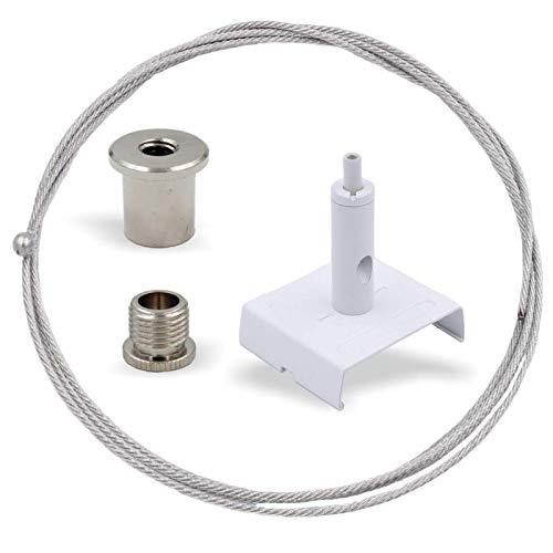 Abhängeset für IVELA Stromschienen Systeme   Deckenbefestiger, Schraubkappe, Drahtseilhalter mit Stromschienen Klemme, Drahtseil Ø1,5mm, Länge 5000mm   Weiss