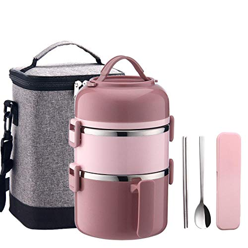 Lunch Box/lunch containers/lunch box for kids/lunch bags for women/Stainless Steel bento box/for Adult and Children Work School Outdoor BBQ Camping+Red 3 layers+lunch bag2200ml