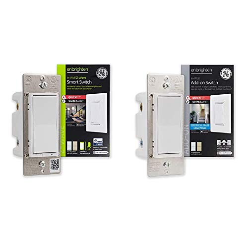 GE 46201 Enbrighten Z-Wave Plus Smart Light Switch with QuickFit and SimpleWire & Enbrighten Add-On Switch with QuickFit and SimpleWire, GE Z-Wave/GE Zigbee Smart Lighting Controls