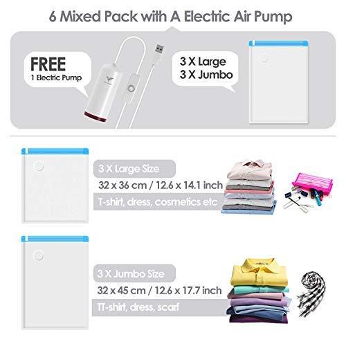 Vakuumbeutel für Kleidung mit USB Tragbare Elektrischer LuftPumpe, für Koffer Sparen Platz Reise Organizer Zubehör 6 STÜCKE (3/36 * 32cm + 3/45 * 32cm) Wiederverwendbare Aufbewahrungsbeutel