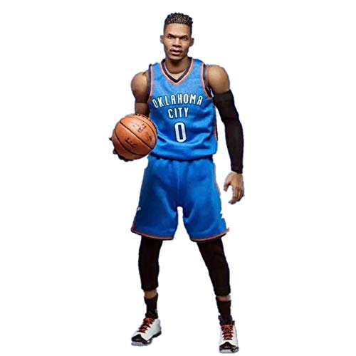 NBA Basketball Star No. 0 Oklahoma City Thunder Russell Westbrook Action Figure, Estatua De Juguete Articulación Móvil PVC De Protección del Medio Ambiente Juguetes Aptos para Niños