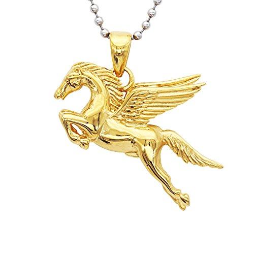 SDENSHI Collar con Colgante de Acero Inoxidable Pegasus Flying Horse para Hombre con Cadena de Cuentas