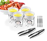 Artestia Ceramic Butter Warmer Set for Seafood (4, White + 2 Seafood Crackers + 4 Forks)