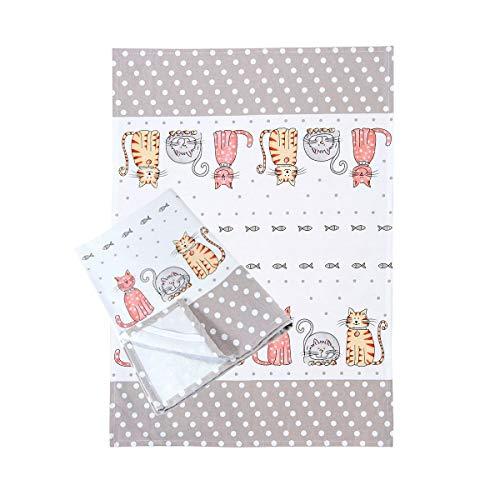SPOTTED DOG GIFT COMPANY 2er-Set Weiß Küche Geschirrtücher Handtuch Küchentücher 230 g Qualität Baumwolle Katzen Design 50 cm x 70 cm Geschenk für Katze Liebhaber Tea Towels Cat Design