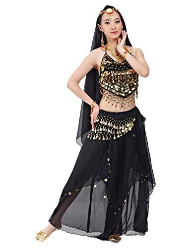 G-like BellyQueen Tanz Kostüm Bauchtanz Kleid - Orientalischer Tanz Arabisch Sexy Professionelle Farbenreiche Kleidung Set Outfit für Tänzerin Damen - Chiffon - 5 Stück (Schwarz)