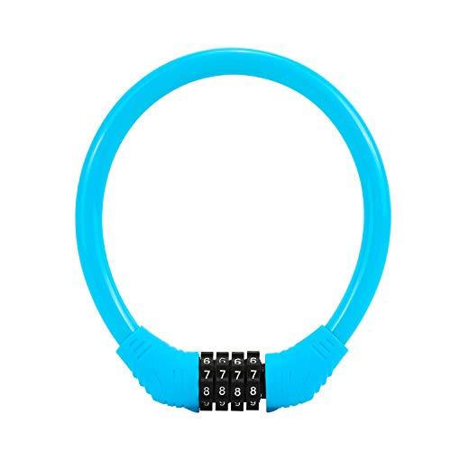 QKURT Candado de cable de seguridad para bicicleta, con combinación de 4...