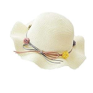 Cosanter 1X Niñas Sombrero para El Sol Protector Solar Princesa Playa Sombrero Bebé Bebé Pescador Sombrero Sombrero para El Sol Sombrero De Niños(Blanco)