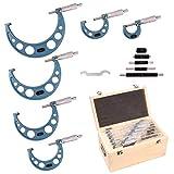 Outside Micrometer Set 0-6' - BEGOOTION Outside Metric Micrometer,0.0001' Graduation Premium Precision Machinist Tools 6Pcs
