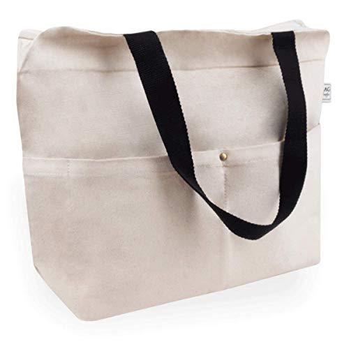 Cottonbagjoe Tragetasche | 2 Langen Henkel | 34 x 35 x 12 cm | mit Reißverschluss, und großem Boden | sehr robust | Baumwolltasche | Handtasche | Einkaufstasche | Segeltuch Material | Canvastasche