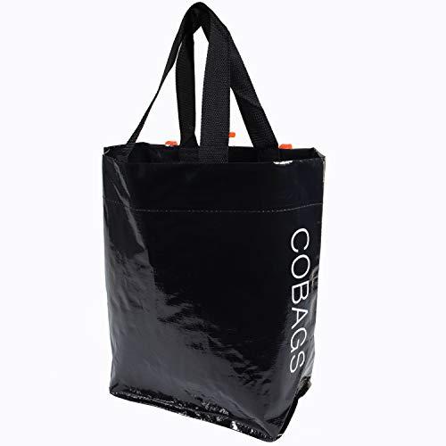 BikeZac Fahrradtasche schwarz | Fahrradeinkaufstasche wasserdicht | Schwarze Einkaufstasche Gepäckträger | Einkaufswagen Tasche wiederverwendbar | Recycling | Bike Shopper | Cobags Black