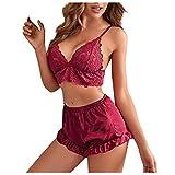 Pijama de dos piezas para mujer, pijama corto de manga corta, camisón con cuello en V, para verano, sexy, pijama de encaje, Vino, M