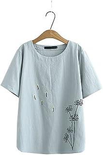 Fyuanmeiinsdxnv Womens tops summer Embroidery Blouse Tops For Women Summer Plus Size Clothing Cotton Linen Shirt Short Sle...