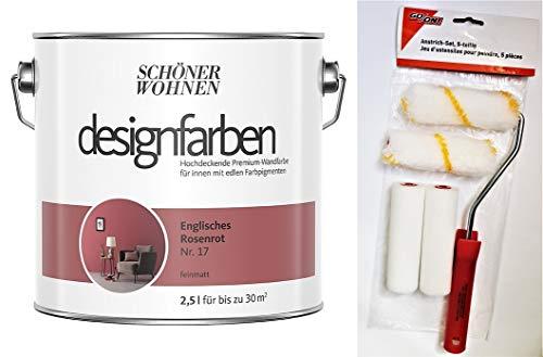 Schöner Wohnen designfarben feinmatte Wandfarbe für innen 2,5 Liter mit go/on Rollen-Set 5-tlg (Nr 17 Englisches Rosenrot)