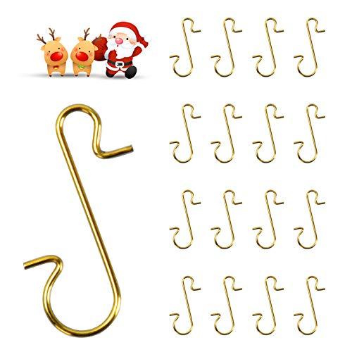 EKKONG 100 Kugelaufhänger Edelstahl S Haken Schnellaufhänger Xmas Klein Aufhänger Für für Weihnachtskugel, Schöne Box,für Weihnachtsbaum, Weihnachtskranz, Weihnachten Rebe (Gold, 100 Stück)