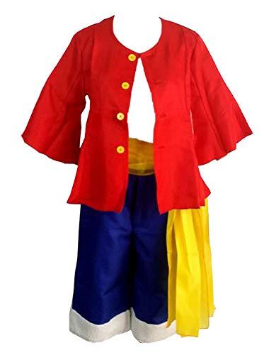 One Piece Disfraz Cosplay Monkey D Luffy Rubber dos años después (sin sombrero) (XXL (176-180 cm)