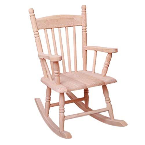 Yankuoo Massivholz Kinderschaukelstuhl, Eiche Freizeit-Baby Kleiner Schaukelstuhl, Gemütlich Sonnenliege, Freizeit Outdoor-Stuhl (Color : Wood Color)