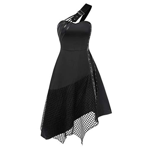 SHE.White Sommerkleid Damen Vintage Kalt Shoulder Gothic Kleid Unregelmäßige Hem Halloween Partykleid Freizeit Tunika Abendkleid Trägerkleid