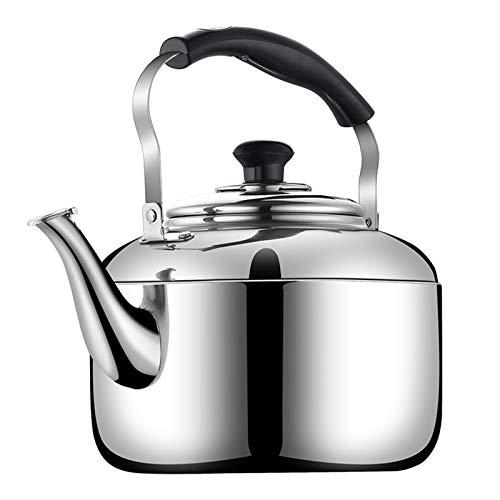 Tetera de té silbando para la tetera de acero inoxidable superior de la estufa, usado para té café y leche, adecuado para varias estufas (Color : Silver, tamaño : 6L)