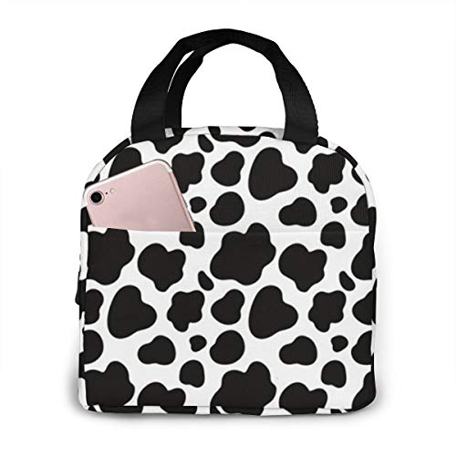 Black and White Cow Print Insulated Lunch Bags for Women Girls Cooler Tote Organizer Bags Reusable Waterproof Lunchbox for Adult Work,School and Travel Picnic