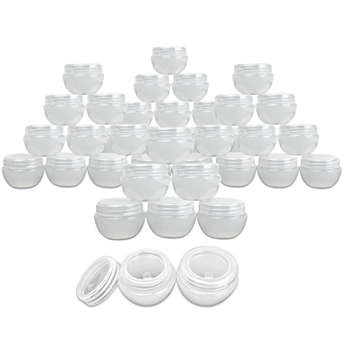 Beauticom 48 Pieces 20G/20ML White Frosted Container Jars with Inner Liner for Homemade...