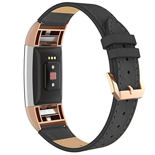 Simpeak Leather Band Compatible with Fitbit Charge 2, Genuine Leather Wristband Strap Replacement for Fitbit Charge 2, Black Band+Rose Gold Adaptor