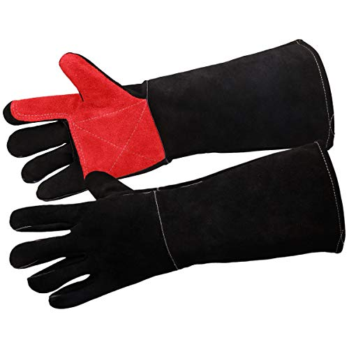932°F Welding Gloves 17.7 Inch Heat Resistant Leather Forge MIG Welding Gloves Grill BBQ Glove for Tig Welder/Grilling/Barbecue/Oven/Fireplace/Wood Stove - Long Sleeve and Insulated Lining