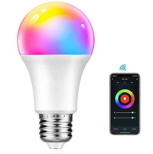 Bombilla LED Inteligente WiFi Smart E27 10W Luces RGB 2700k-6500K, Ajustable y Lámpara Multicolor. Funciona con APP TUYA, compatible con Alexa y Google Assistant
