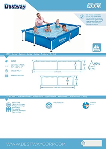 Bestway Steel Pro Splash - Pool of 221 x 150 x 43 cm, 1,200 l Pools, Hot Tubs & Supplies